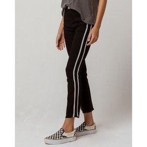 Side Stripe Crop Flare Lightweight Jeans Black